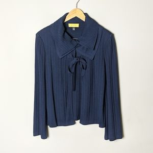 St. John Navy Blue Open Front Bow Tie Cardigan L